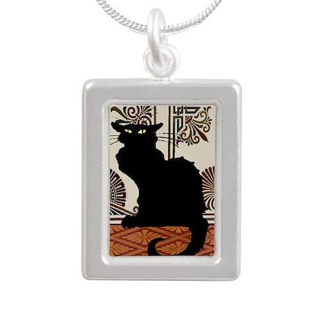 BlackCAt3Sq Silver Portrait Necklace