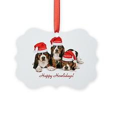 Basset Hound Puppies With Santa H Ornament
