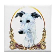 Whippet Christmas/Holiday Tile Coaster