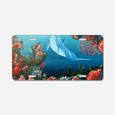 red dolphin copy Aluminum License Plate