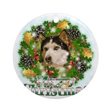 Merry Christmas Husky Round Ornament
