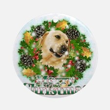 Merry Christmas Lab Round Ornament