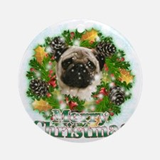 Merry Christmas Pug Round Ornament