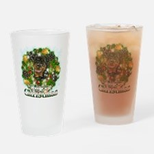 Merry Christmas Rottweiler Drinking Glass