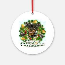 Merry Christmas Rottweiler Round Ornament