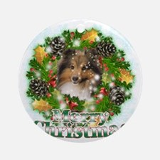 Merry Christmas Sheltie Round Ornament
