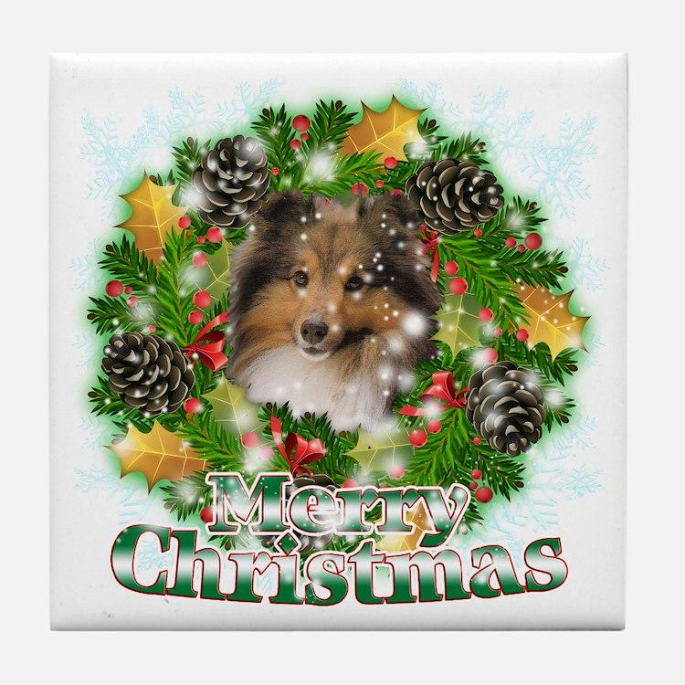 Merry Christmas Sheltie Tile Coaster