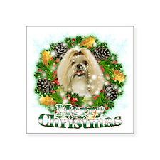 "Merry Christmas Shih Tzu Square Sticker 3"" x 3"""