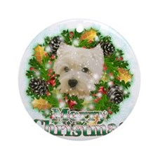 Merry Christmas Westie Round Ornament