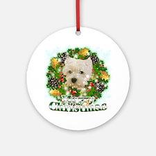 Merry Christmas Westie Round Ornament