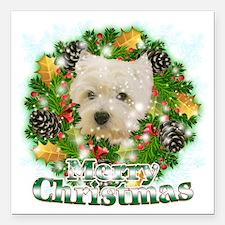 "Merry Christmas Westie Square Car Magnet 3"" x 3"""