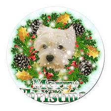 Merry Christmas Westie Round Car Magnet