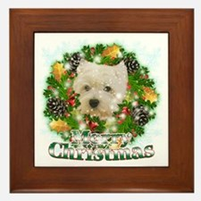 Merry Christmas Westie Framed Tile