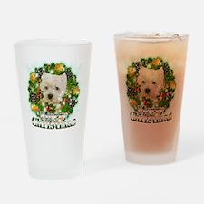 Merry Christmas Westie Drinking Glass