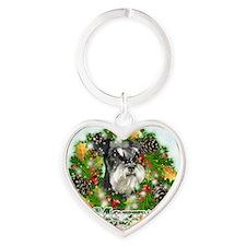Merry Christmas Miniature Schnauser Heart Keychain