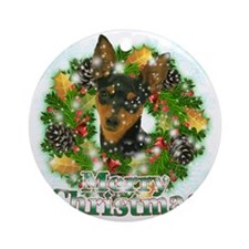 Merry Christmas Min Pin Round Ornament