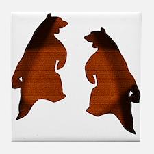 BROWN 2 TONE DANCING BEARS Tile Coaster
