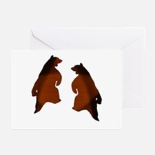 BROWN 2 TONE DANCING BEARS Greeting Cards 10 (Pack