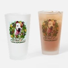 Merry Christmas Pitbull Drinking Glass
