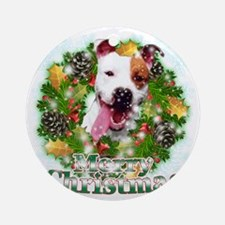 Merry Christmas Pitbull Round Ornament