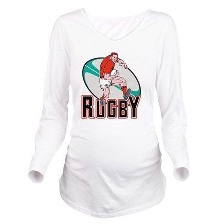 rugby player running Long Sleeve Maternity T-Shirt