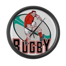 rugby player running with ball Large Wall Clock