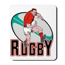 rugby player running with ball Mousepad