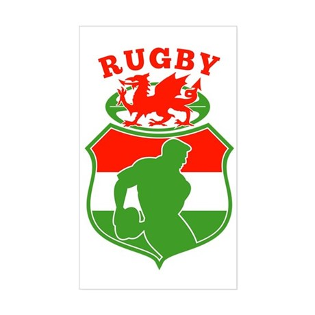 rugby player wales flag shield Sticker (Rectangle)