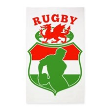rugby player wales flag shield 3'x5' Area Rug