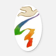 rainbow-wedding-dove_bl Oval Car Magnet