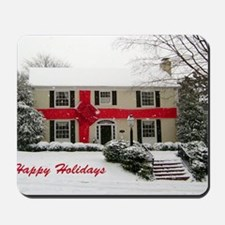 christmas card house with red ribbon gre Mousepad