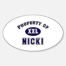 Property of nicki Oval Decal