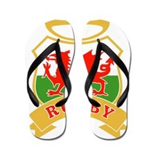 welsh rugby wales dragon flag ball Flip Flops