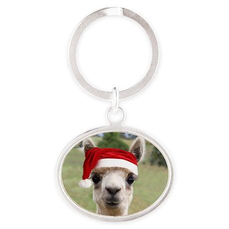 Sheba Alpaca at Christmas Oval Keychain