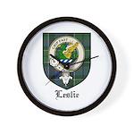 Leslie Clan Crest Tartan Wall Clock