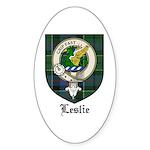 Leslie Clan Crest Tartan Oval Sticker
