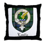 Leslie Clan Crest Tartan Throw Pillow