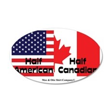 american-canadian-flag 35x21 Oval Wall Decal