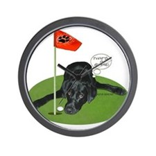 Black Lab Golfer Wall Clock