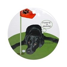 Black Lab Golfer Ornament (Round)