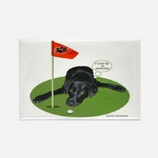 Black Lab Golfer Rectangle Magnet