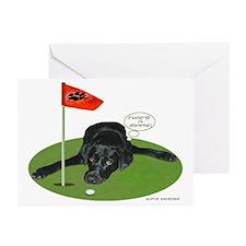 Black Lab Golfer Greeting Cards (Pk of 10)