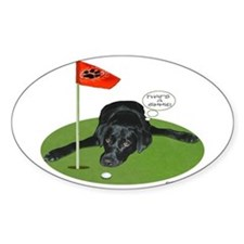 Black Lab Golfer Oval Decal