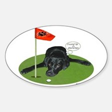 Black Lab Golfer Oval Decal