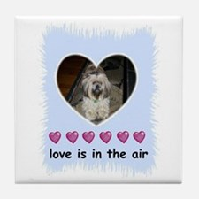 LOVE IS IN THE AIR ( LHASA APSO DOG) Tile Coaster