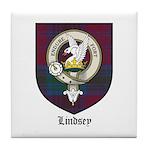 Lindsey Clan Crest Tartan Tile Coaster