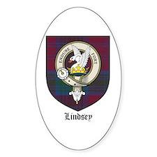 Lindsey Clan Crest Tartan Oval Decal