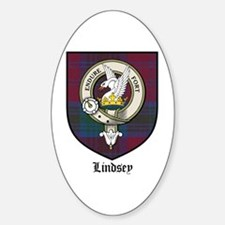 Lindsey Clan Crest Tartan Oval Decal