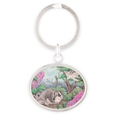 Closeup of gliders  lilacs Oval Keychain