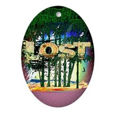 lost bamboo forest copy Oval Ornament